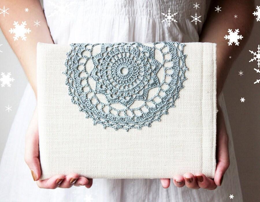 iPad Air - iPad 1 2 3 4 new case - Crochet lace - Handmade - Rustic - Winter - GalaBorn