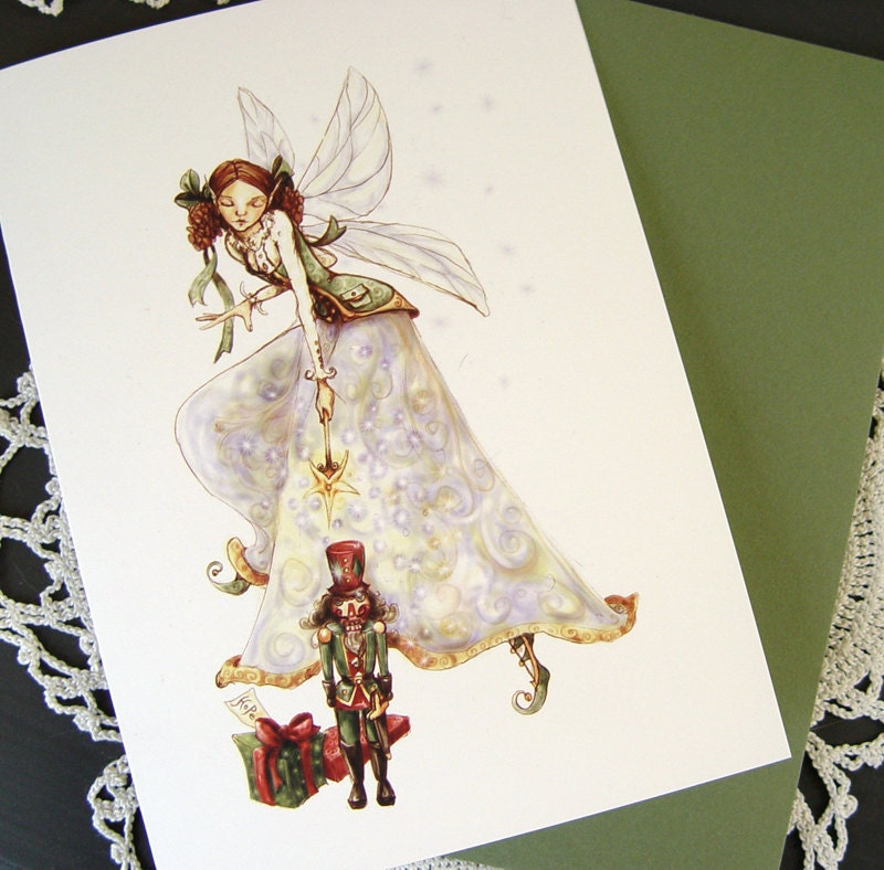 Nutcracker and Sugarplum Fairy Christmas Card, Set of Five Cards