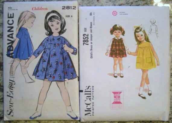 Vintage 1960s girls dress patterns size 6 advance style 2812 mc