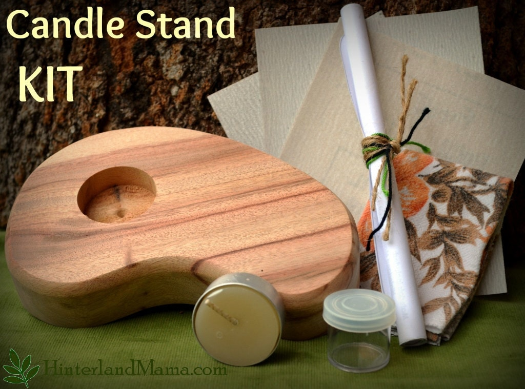 Kit make your own wooden candle stand holder by for Create your own candle holder