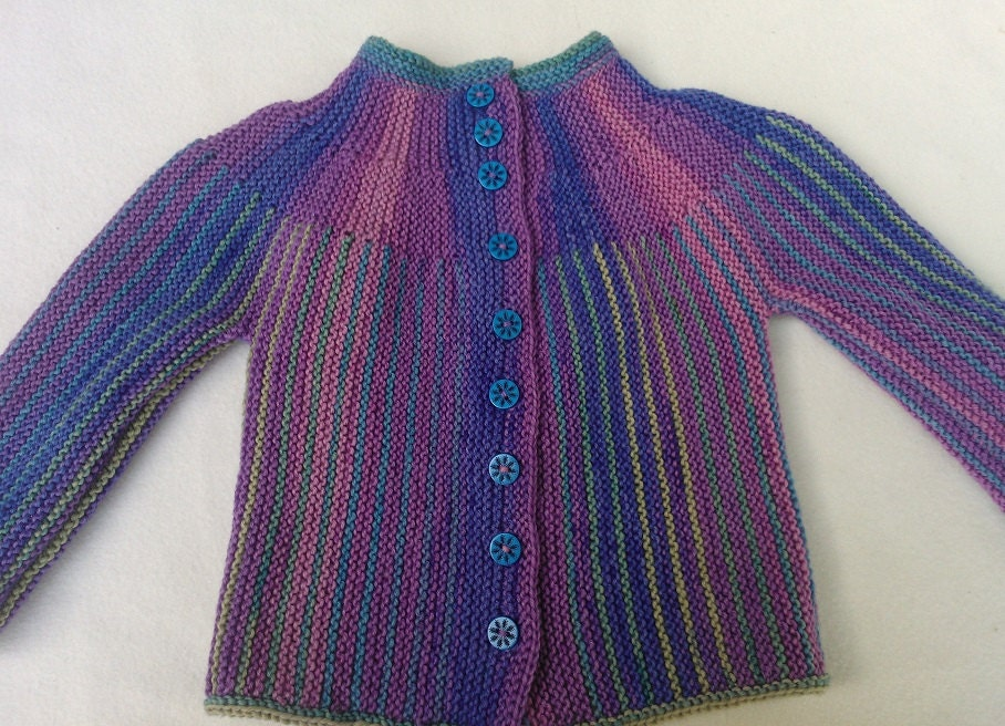 Multicolour hand knitted baby jacket, in extra fine merino wool, size 6 months - Astastar