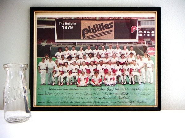 Vintage Philadelphia Phillies team photo with frame