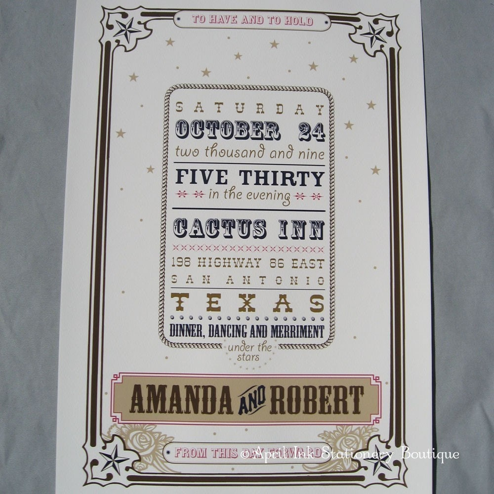 Western Wedding Poster, Guest Book Alternative