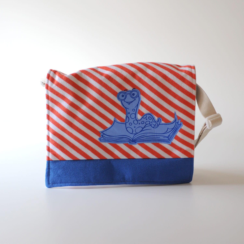 Messenger Bag, Orange Striped Bookworm