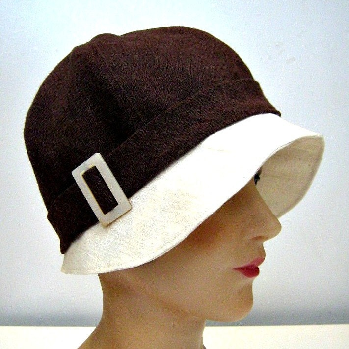 1920s Dark Chocolate and Cream Linen Cloche - Made to Order