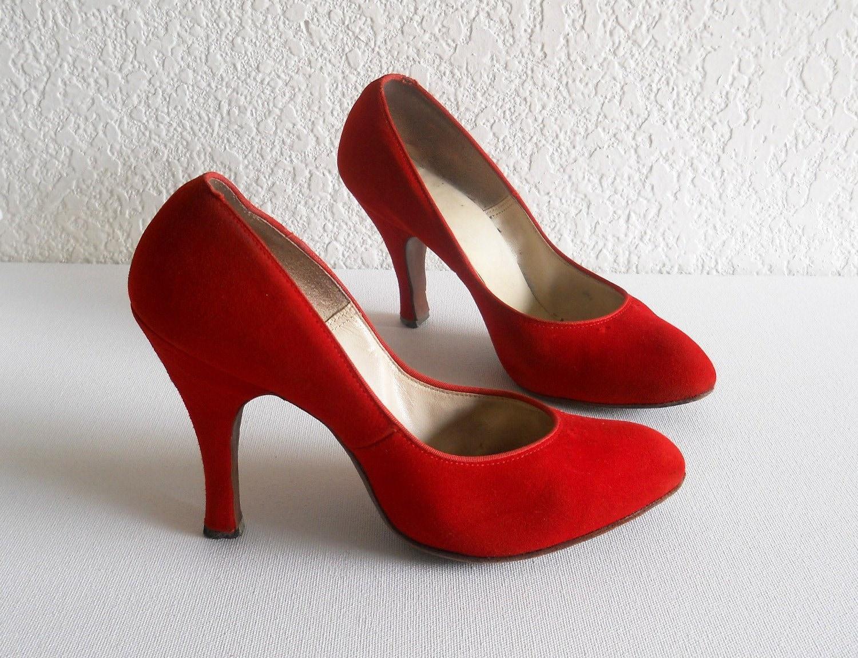 Vintage Heels, QualiCraft Stilettos, Red Suede - Size 5.5