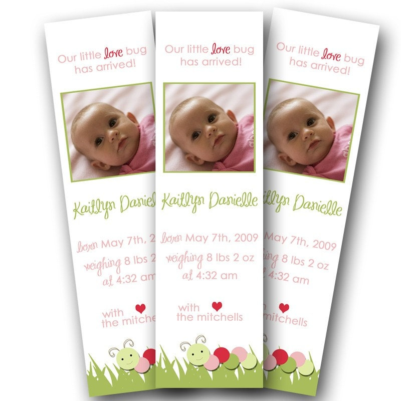 Love Bug Bookmark Birth Announcements- Set of 50