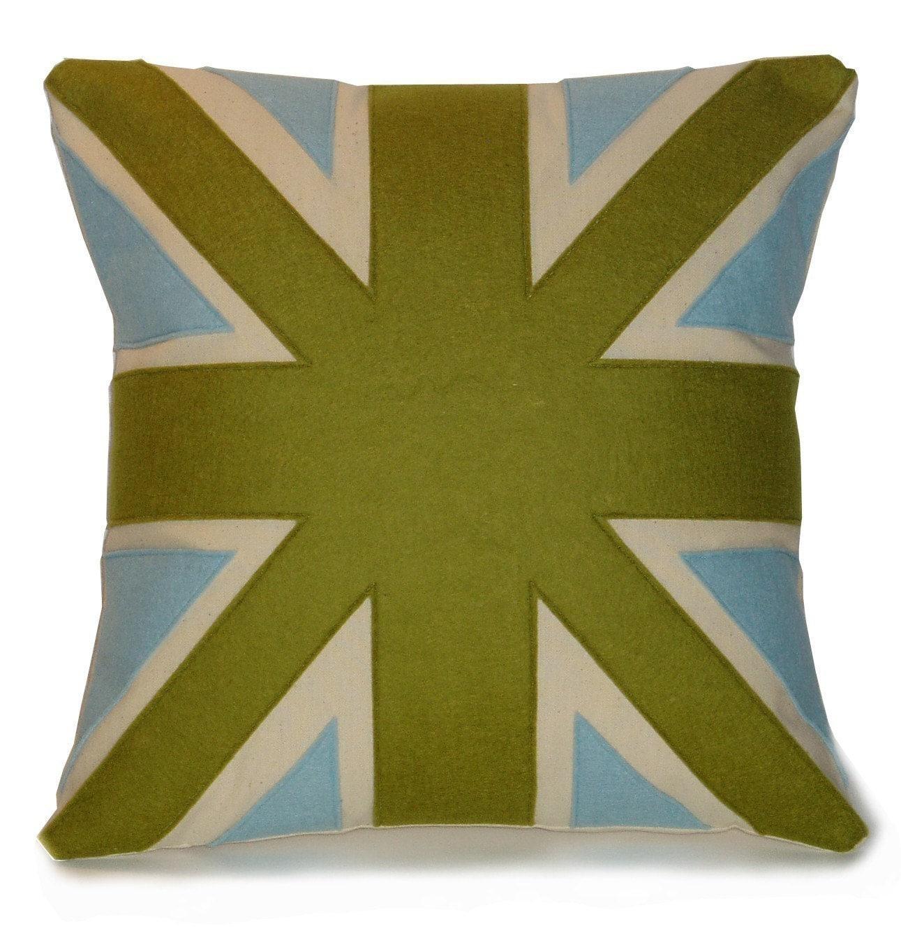 green and light blue UNION JACK CUSHION