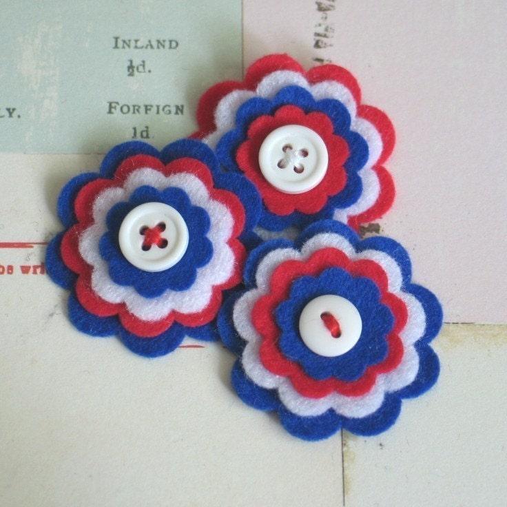 Отечественная войлока Цветы - Набор из 3 ручной работы Королевский синий, красный и белый войлок слоистых Цветы - Новая сниженная цена