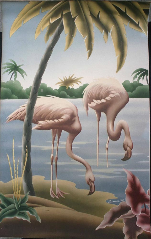 Vintage Mid Centry Turner Flamingo Print by Krappola on Etsy