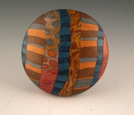 Browns, Grey, Gold and Blue Reversible Bead