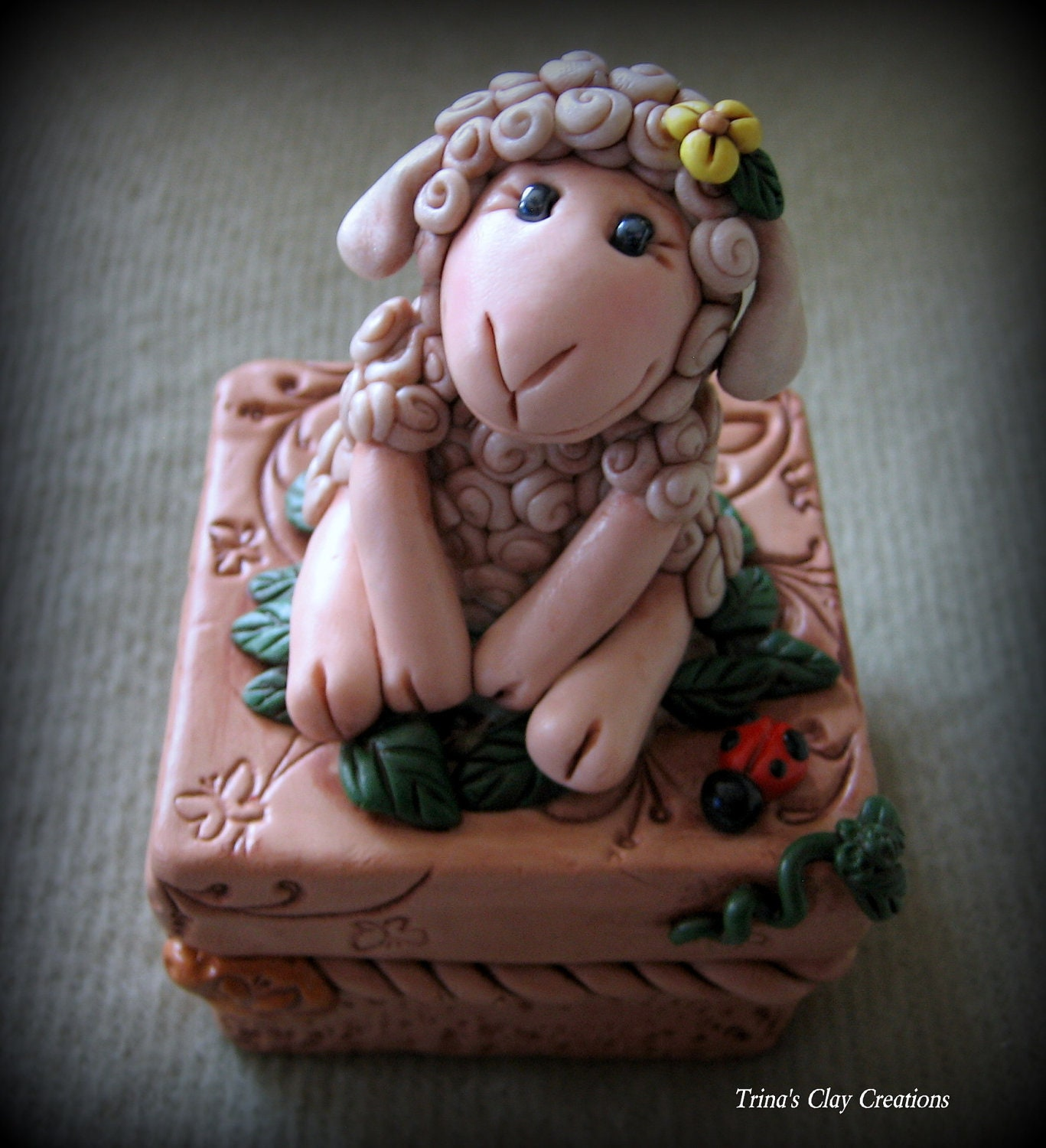 Polymer Clay Trinket Box with Sheep