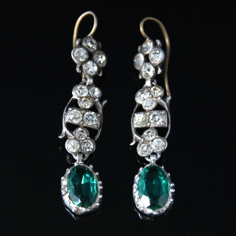 Antique Georgian Long Emerald Green  White Paste Earrings  Circa 1800