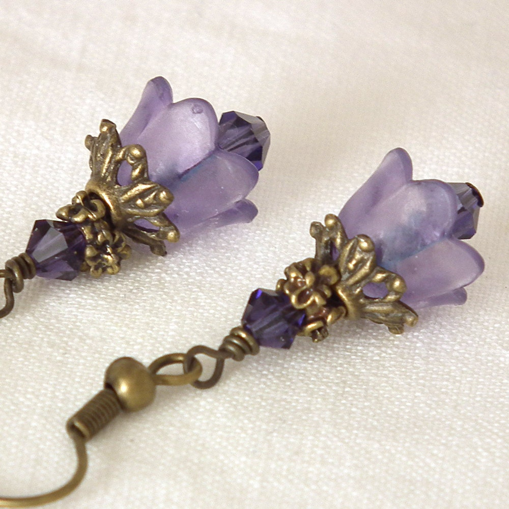 Neo Victorian Vintage Inspired Purple Acrylic Flower Antiqued Brass Earrings