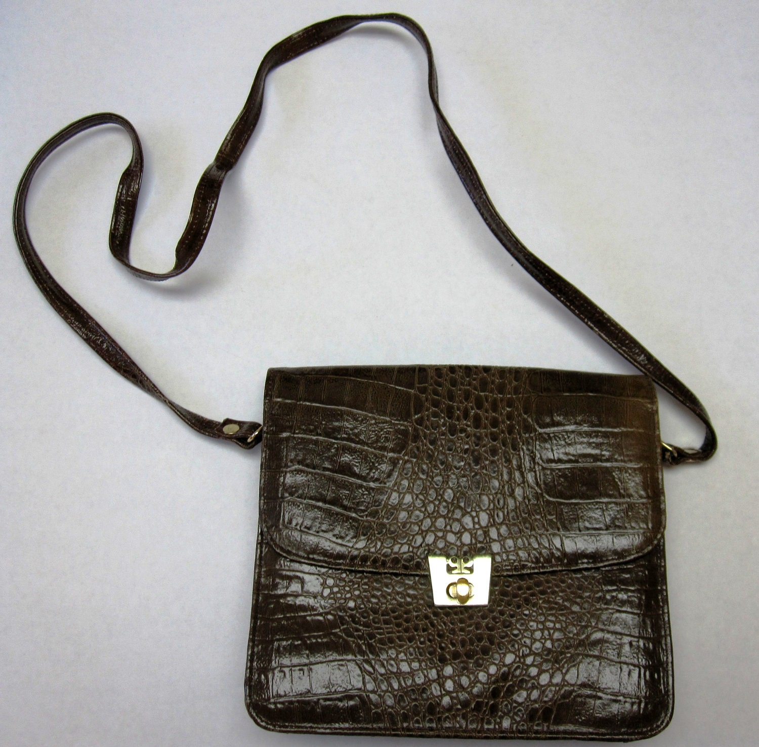 Vintage Dark Brown Mock Croc by Paco Paris Creative Designs