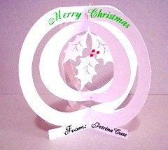 Pop-Up Card  Christmas Globe Holly Item No. 9953