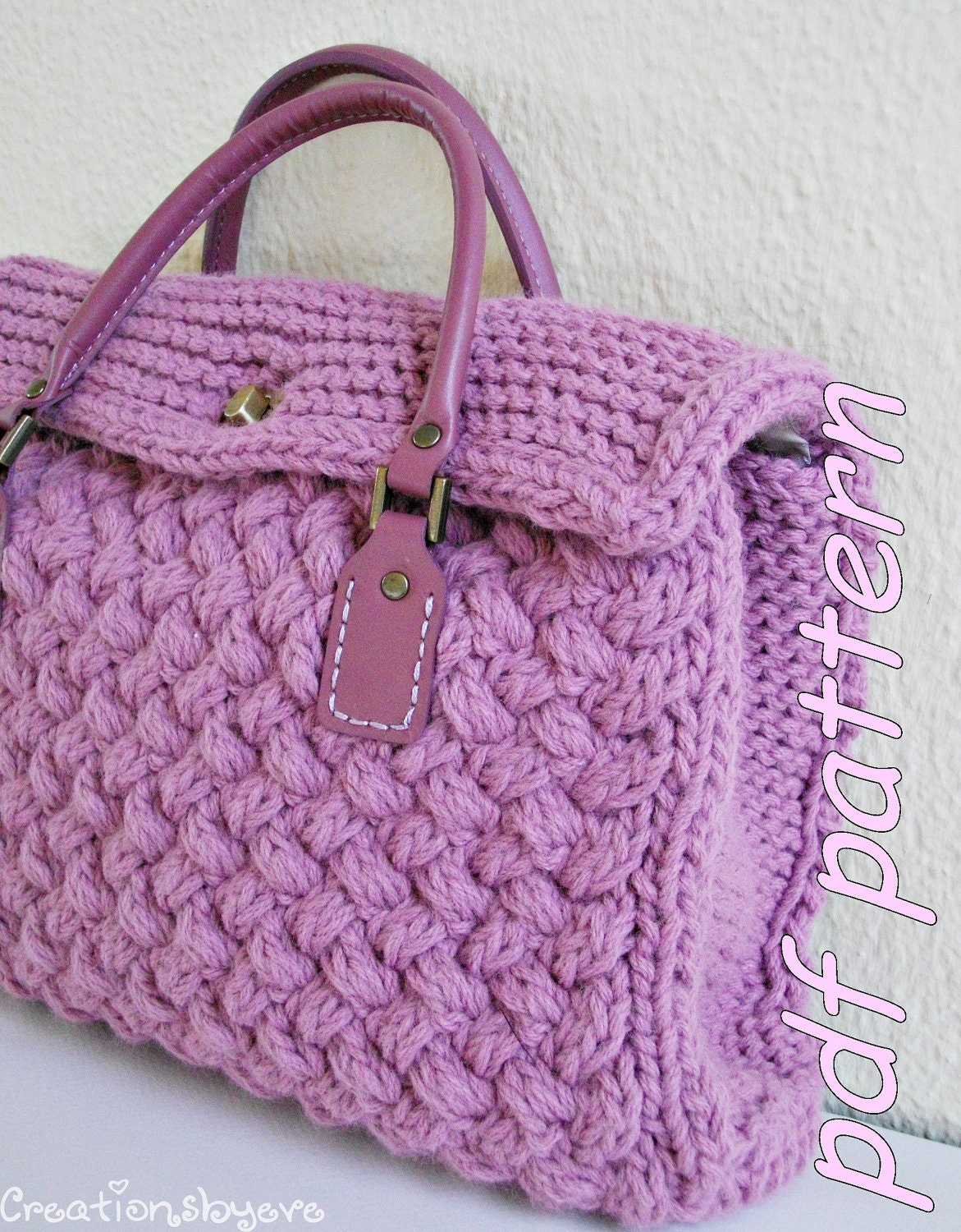 Stylish small textured hand-knit bag PDF by creationsbyeve