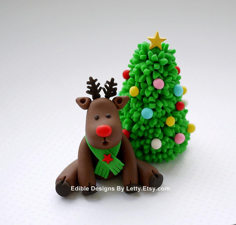 Edible Reindeer Cake Decoration : Items similar to Edible Fondant Reindeer Cake Topper ...