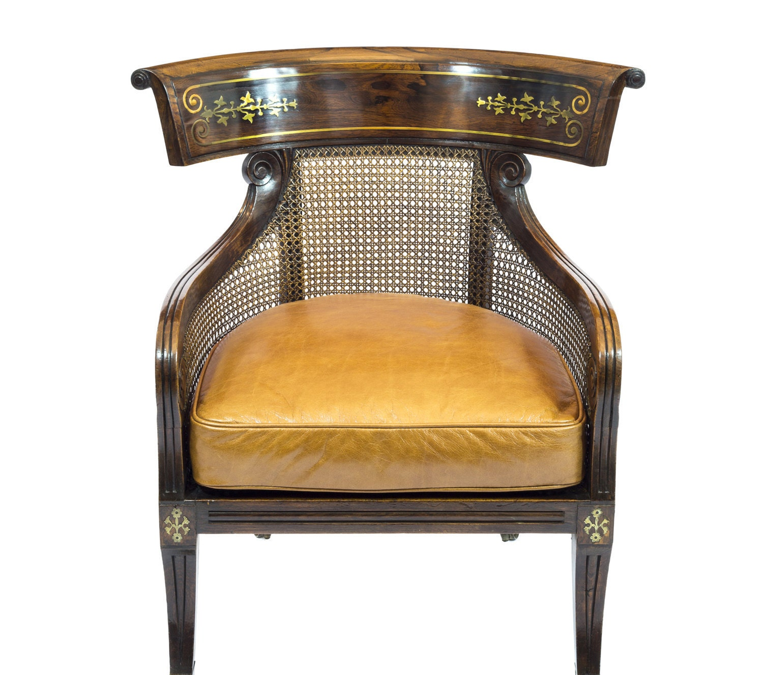 Fine Regency Simulated Rosewood Bergere Armchair