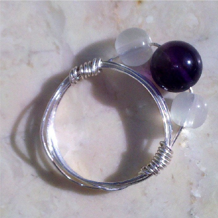 Amethyst and Whites Ring Size 7.5