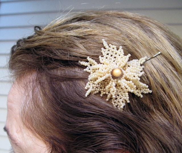 Beautiful Bobby Pin with Beadwork  Cream Flower by nezjewelry from etsy.com