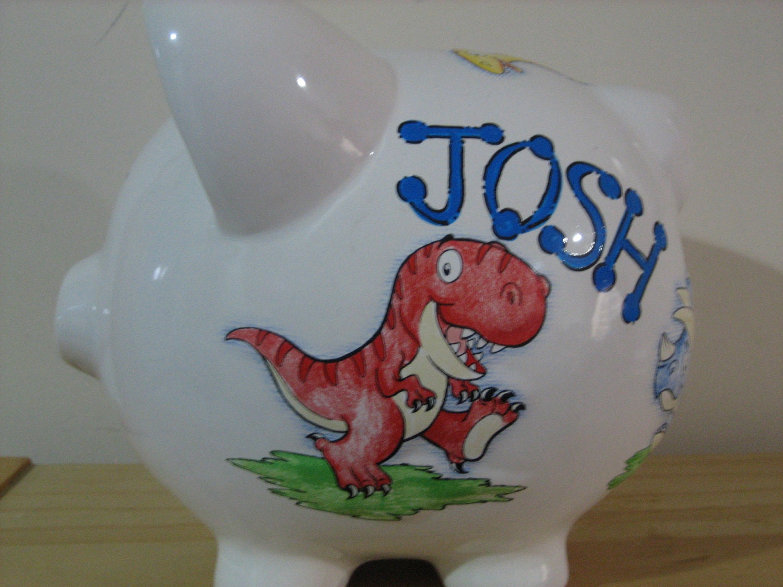 Personalized large dinosaur piggy by kutekustomkreations - Dinosaur piggy banks ...