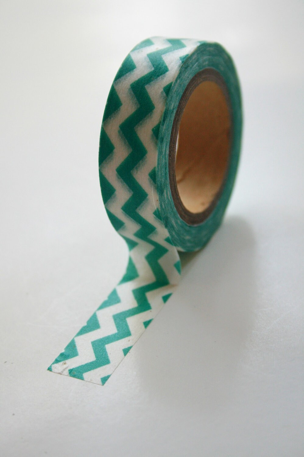 Washi Tape - 15mm - Teal Chevron on White - Deco Paper Tape No. 505 - InTheClear
