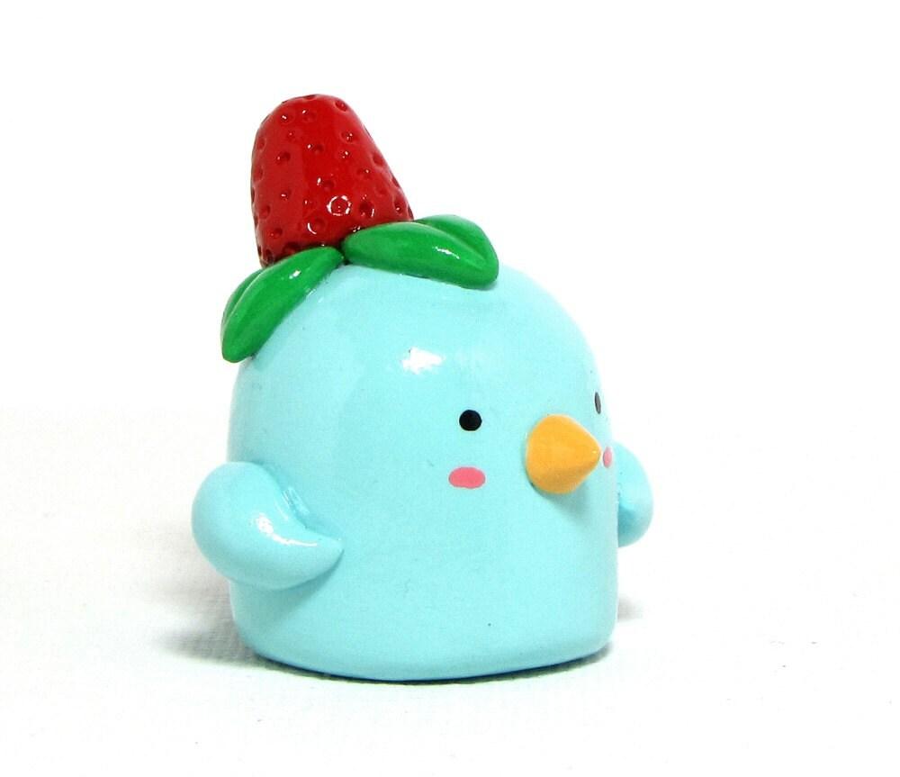 Strawberry Blue Bird Figurine