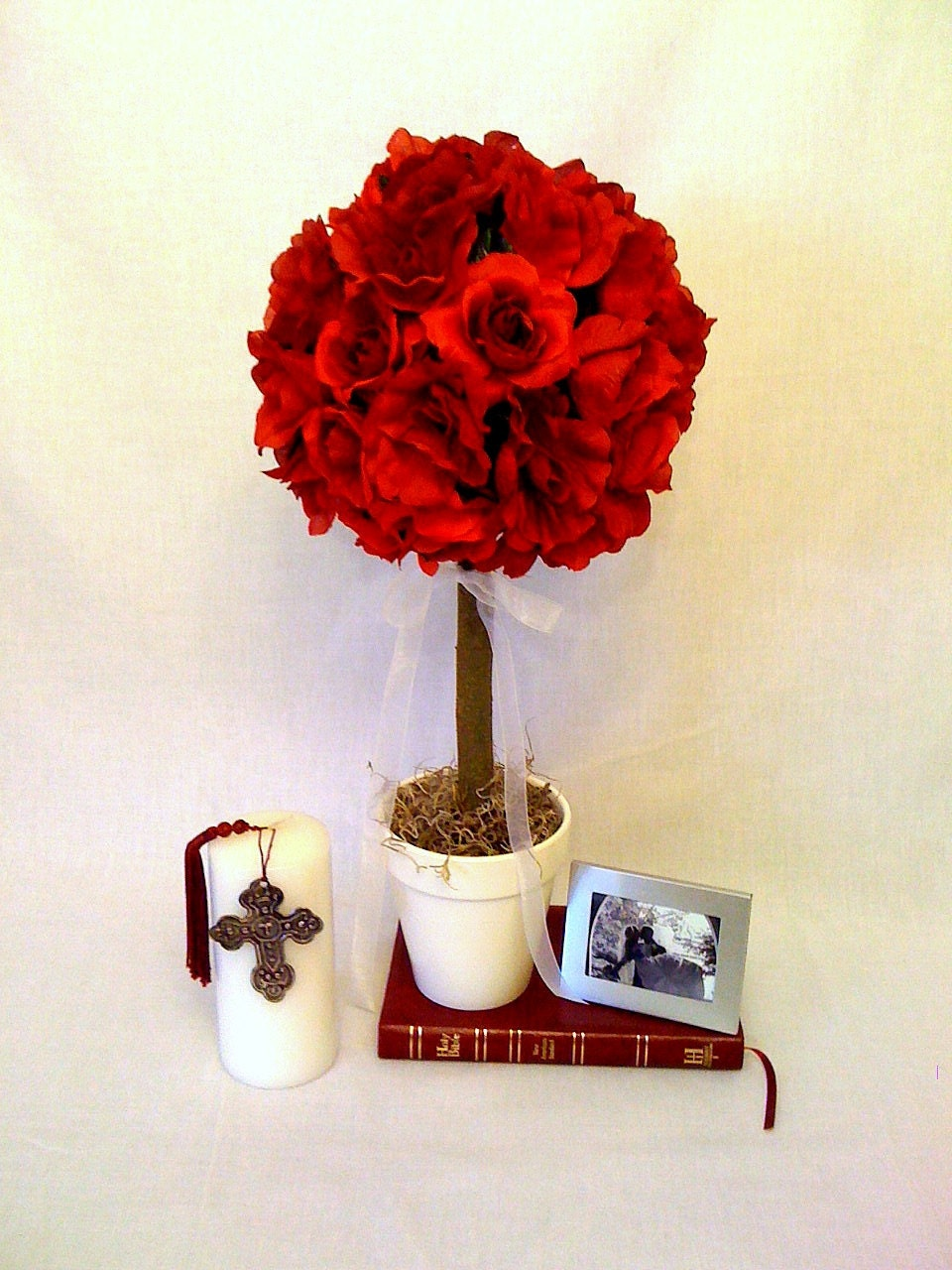 Items similar to red rose topiary for centerpieces
