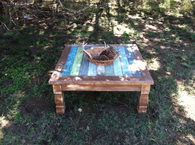 Rustic coffee table beach decor weathered wood by for Rustic beach coffee table