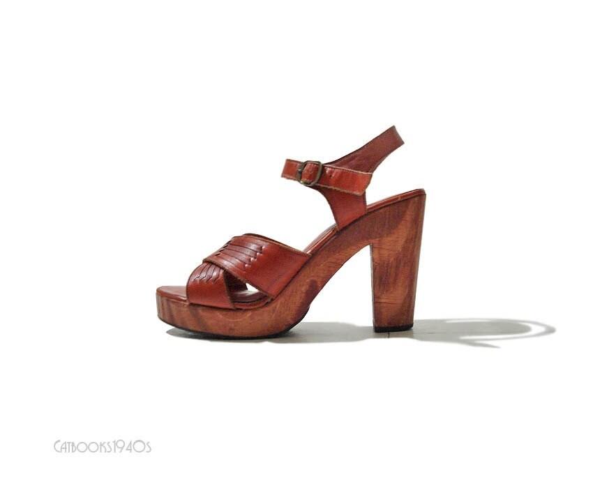 vintage 70s platform shoes leather boho platform by