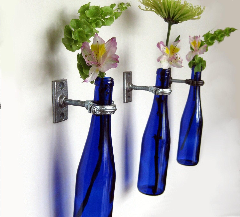3 cobalt blue wine bottle wall flower vases by for Wine bottle flower vase