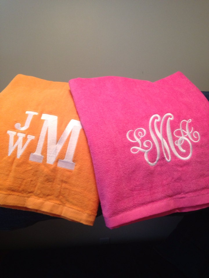 set of 2 monogrammed beach towels perfect for his and by ptthreads