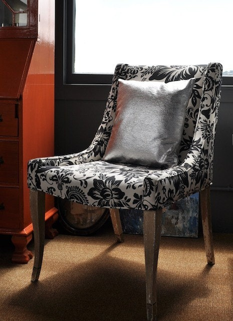Bold Black and White Floral Print Mid-Century Side Chair