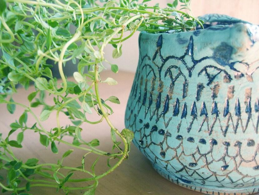lacy blue vase or planter