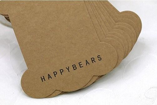Set of 40 Kraft Cardboard Bobbin Set - happybears