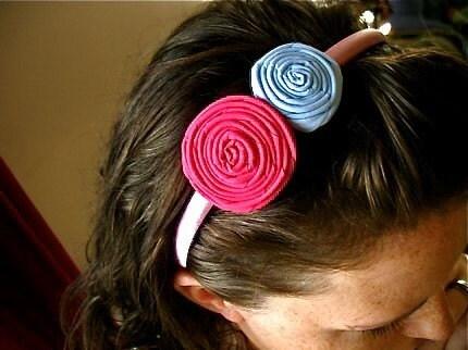 Sassafrass fabric rosette flower headband