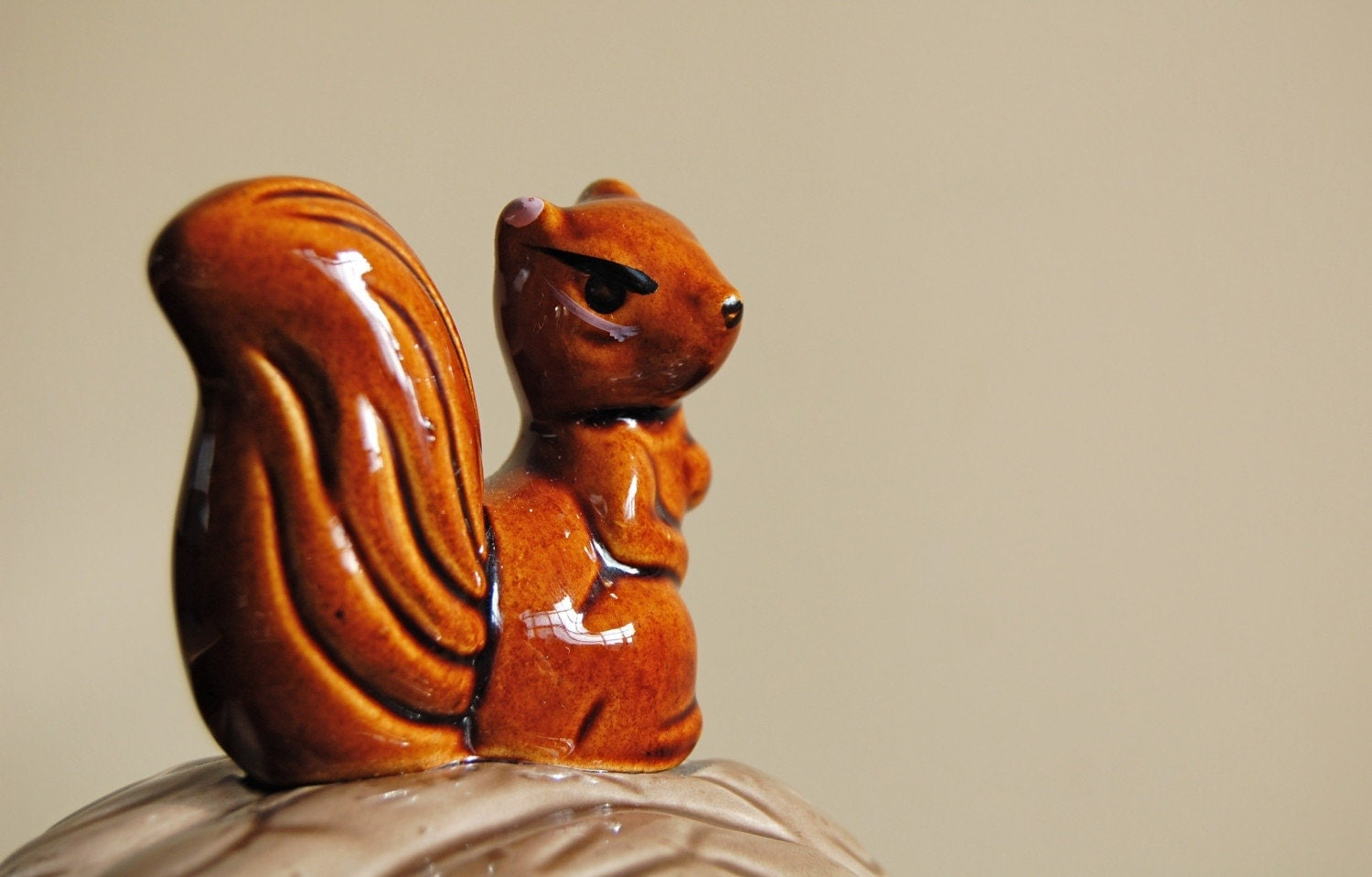 Squirrel on a Walnut Covered Dish