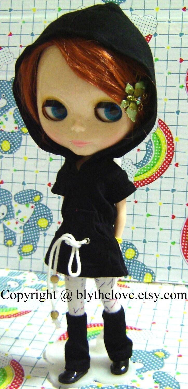 BLYTHE Outfit Set --- Black Hoodie Set for Blythe Doll. From blythelove