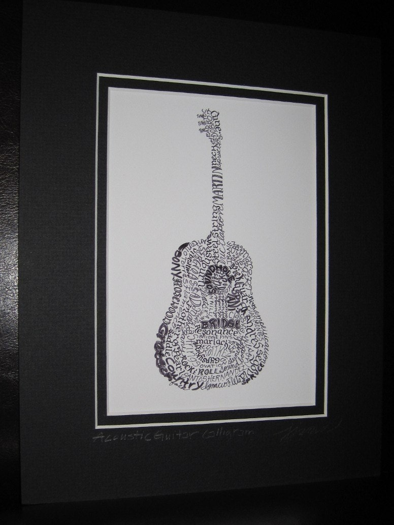 Acoustic Guitar Calligram Calligraphy Print