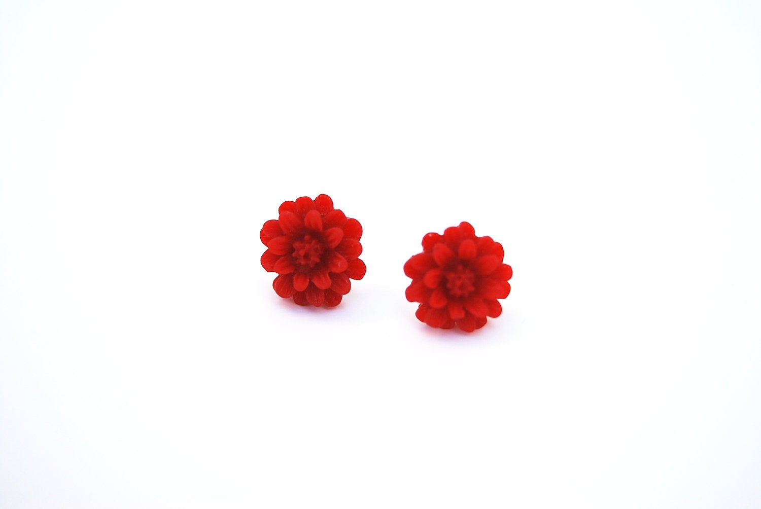 Resin Flower Earring, Red Resin Flower Earring, Flower Earring, Flower Stud Earrings