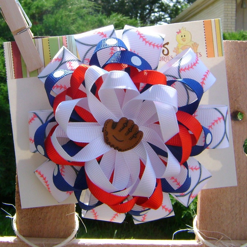 Play Ball Chicago Cubs Inspired Large Boutique Loopy Bow on French Clip