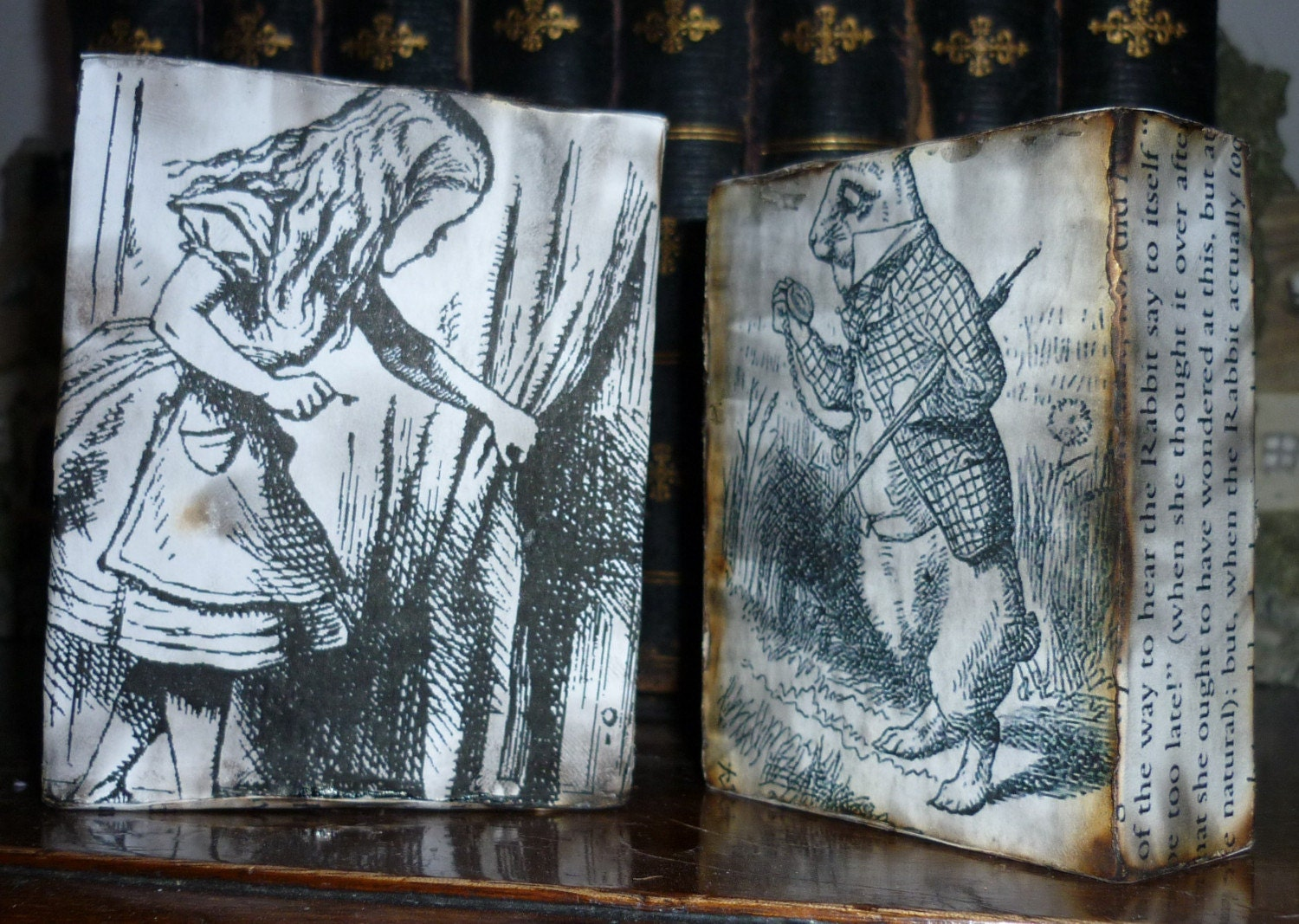 Two Alice in Wonderland ornamental wooden blocks