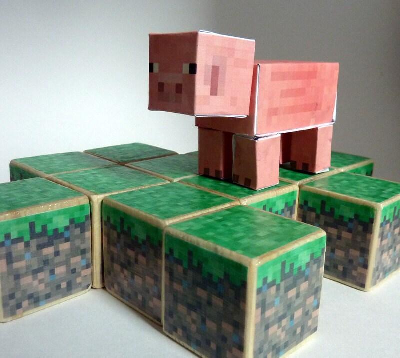 Items similar to minecraft wood blocks set grass dirt