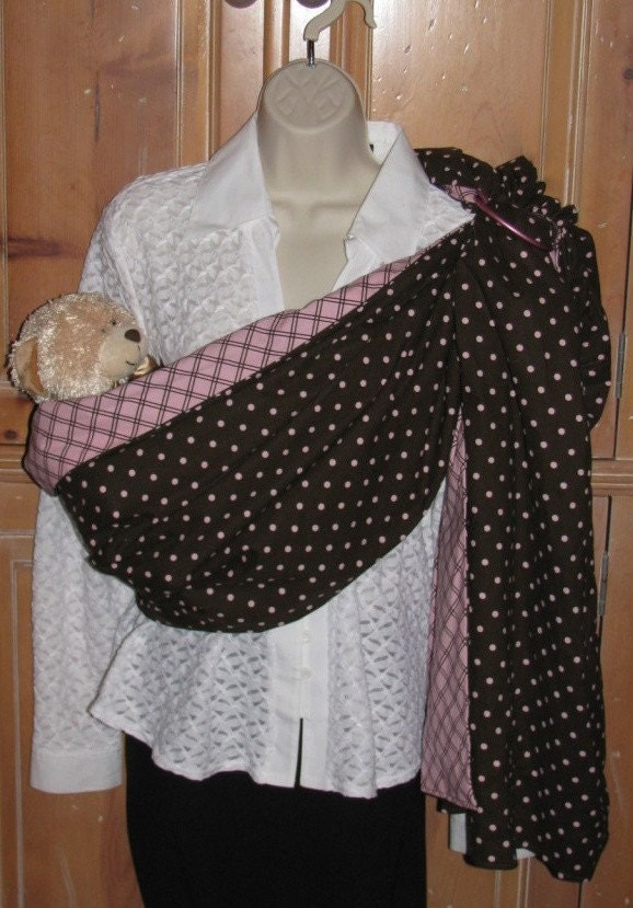 Pink and Brown Dots Ring Sling All Sizes