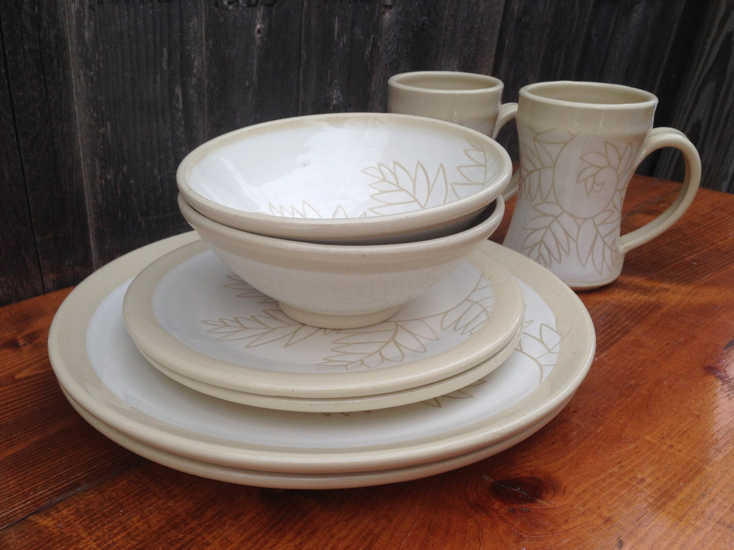 White Fern Pottery Dinnerware Sets for 2 people / 8 piece Handmade Place Settings