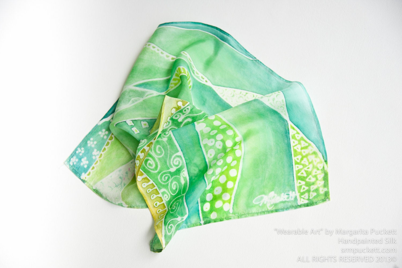 Odd Silk Scarf- OOAK Hand painted Silk Mini Scarf Sulfur Green, Ochre, Chartreuse, Emerald, Aqua, Jade - MPuckettArt
