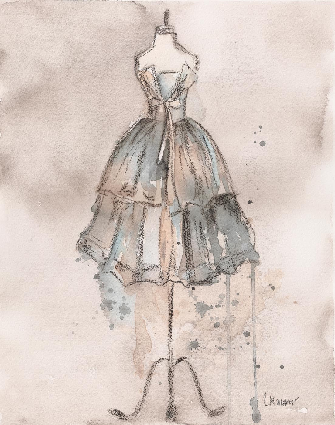 Print - Watercolor and Charcoal Painting - Strapless Champagne Dress - 10x13