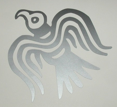 Viking Odin raven silver vinyl decal - sparrowhawk9