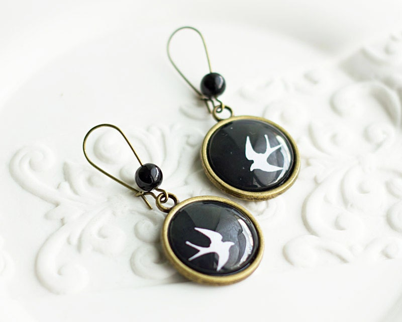 Swallow Earrings, Bird Earrings, Black and White Earrings, Bronze Earrings, Long Hook Earrings, FREE shipping - HelgaYutt